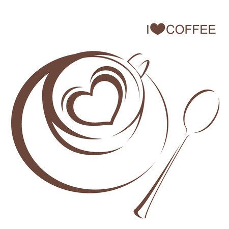 arabica: Coffee 4, Coffee cup with plate and spoon on isolated white background Illustration