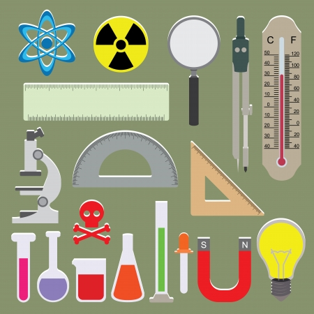 vitro: Vector set of science icons on isolated background Illustration