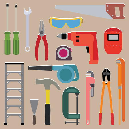 artefact: Vector set of tools instrument on isolated background