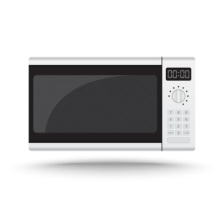 microwave oven: 3D Realistic horno microondas vectorial sobre fondo blanco aisladas