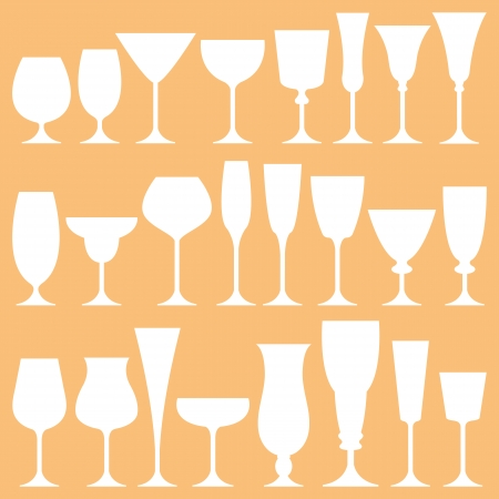 Vector set of wine glass on isolated background Vector