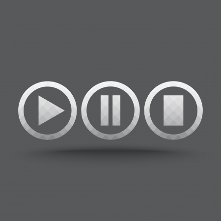 pause button: Vector of transparent play, pause and stop button icon on isolated background