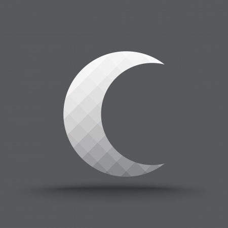 half full: Vector of transparent crescent moon icon on isolated background