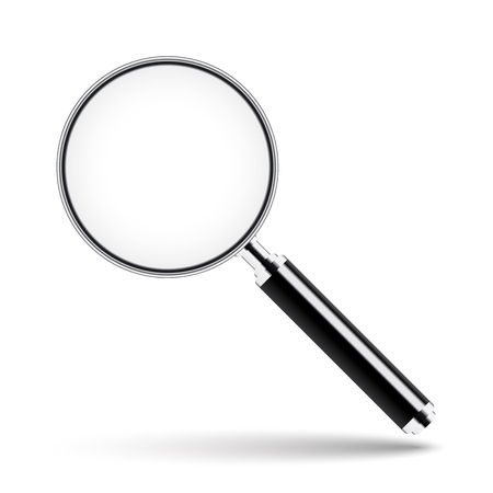 Magnifying glass with transparent glass on isolated white background
