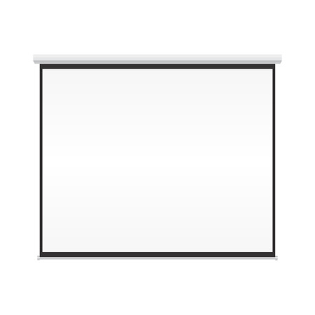 Blank projection screen on isolated white background Illustration
