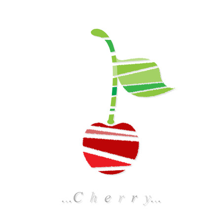 sour cherry: cherry icon on isolated white background