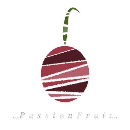 страсть: Вектор фруктов, маракуйя значок на белом фоне изолированные