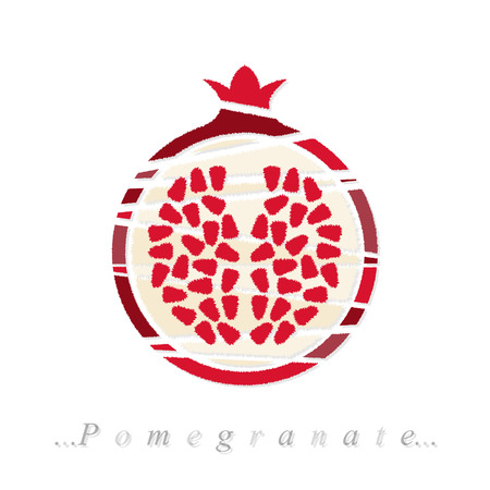 Vector of fruit, pomegranate icon on isolated white background Vector