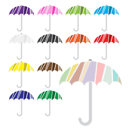 Vector set of umbrella icon on isolated white background Vector
