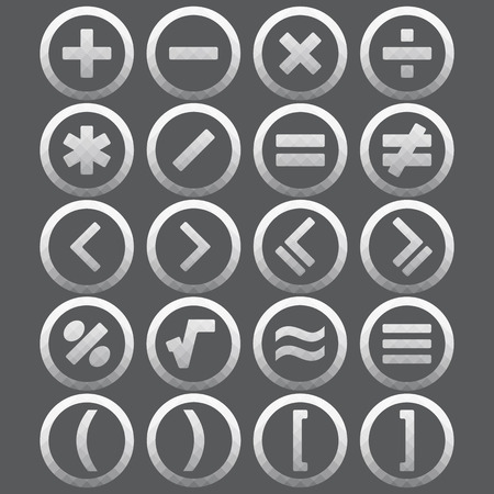 Vector of transparent icon, mathematical symbols set on isolated background Vector