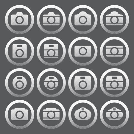 Vector of transparent icon, camera set on isolated background