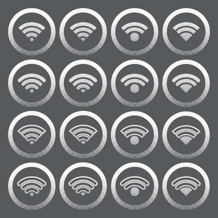 Vector of transparent icon, internet wifi set on isolated background Vector