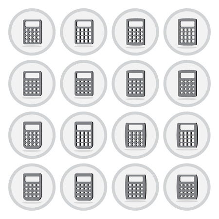 Vector of flat icon, calculator set on isolated background Vector