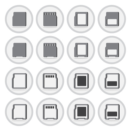 fash: Vector of flat icon, compact memory card set on isolated background Illustration