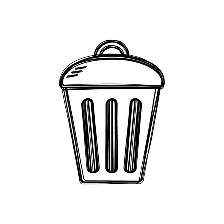Vector of sketch doodle, trashcan icon on isolated background Vector