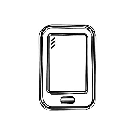 Vector of sketch doodle, mobile phone icon on isolated background Vector