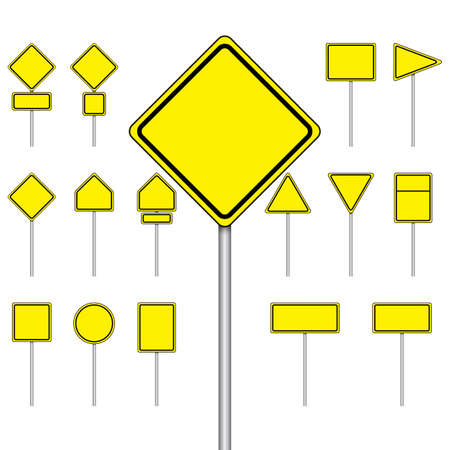 signal pole: Vector set of blank road sign on isolated white background