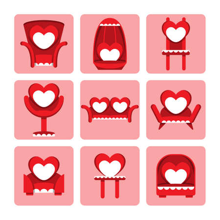 Vector set of cute chair for valentine day Vector