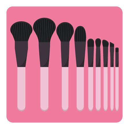 make up brushes: Vector set of make up brushes on isolated background