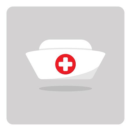 孤立した背景に看護師の帽子アイコンのベクトル