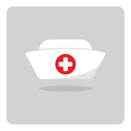nurses: Vector of nurse hat icon on isolated background