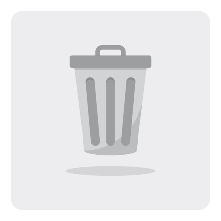 trashcan: Vector of flat icon, trashcan on isolated background