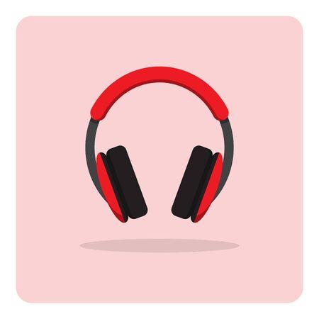 ilustracion: Vector del icono plana, auriculares en el fondo aislado Vectores