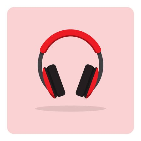 headphones icon: Vector of flat icon, headphones on isolated background