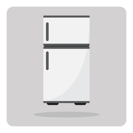 refrigerator with food: Vector of flat icon, refrigerator on isolated background
