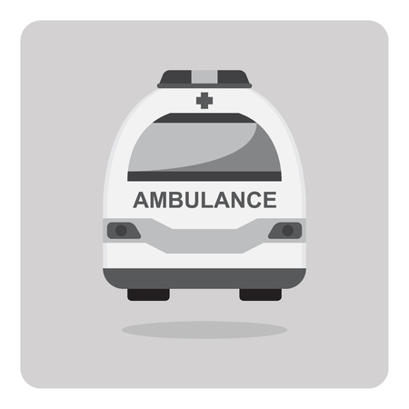 Vector of flat icon ambulance car on isolated background