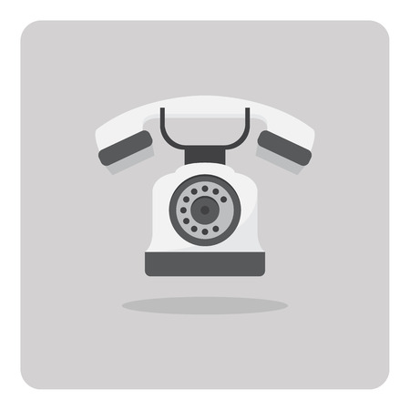 old telephone: Vector of flat icon old telephone isolated background