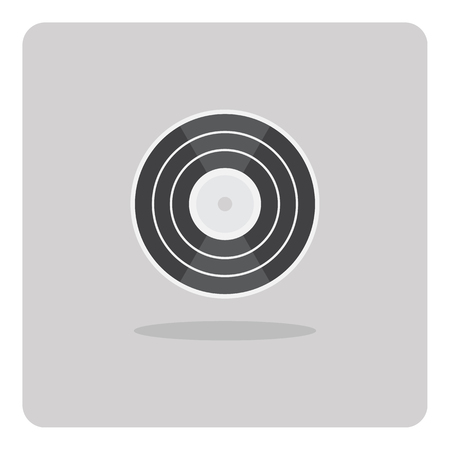 vinyl disk player: Vector of flat icon vinyl record on isolated background