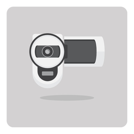 Vector of flat icon, digital video camera on isolated background