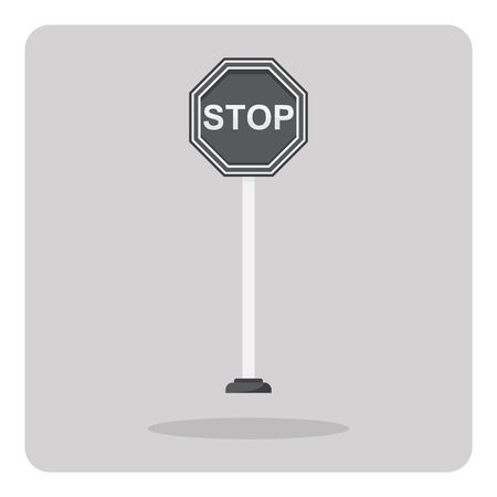 signal pole: Vector of flat icon, stop sign on isolated background