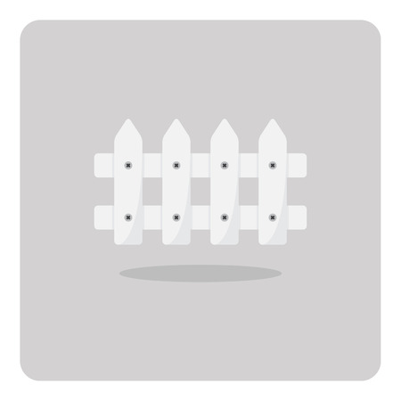 white fence: Vector of flat icon, white fence on isolated background