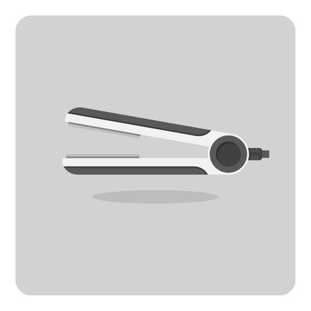 straightener: Vector of flat icon, hair straightener on isolated background