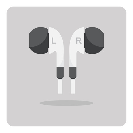 ear bud: Vector of flat icon, earphones on isolated background