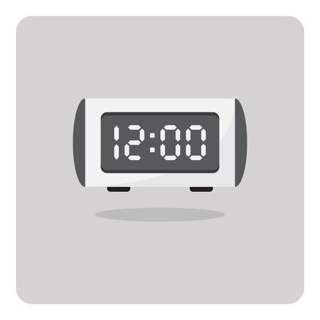 digital clock: Vector of flat icon, digital alarm clock on isolated background