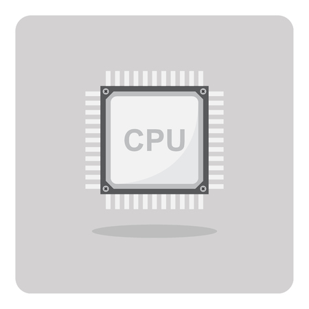 power supply unit: Vector of flat icon, cpu chip for computer on isolated background