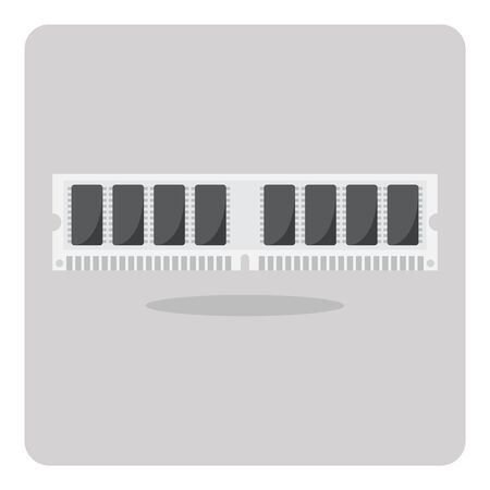 random access memory: Vector of flat icon, ram memory for computer on isolated background