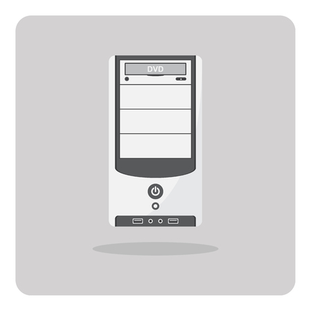 computer case: Vector of flat icon, computer case on isolated background