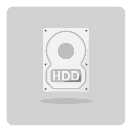 hard disk drive: Vector of flat icon, hard disk drive on isolated background