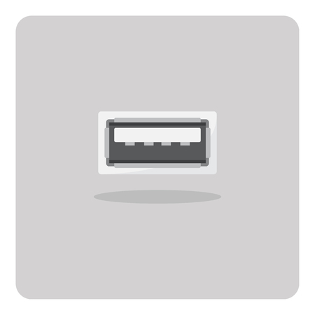 port: Vector of flat icon, usb port on isolated background