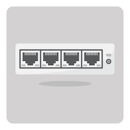 Vector of flat icon, switch hub on isolated background