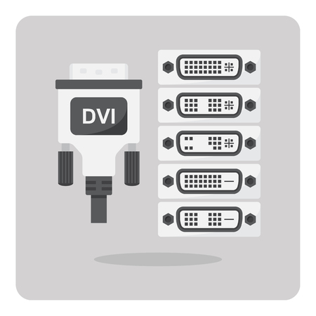 dvi: Vector of flat icon, DVI connector on isolated background Illustration