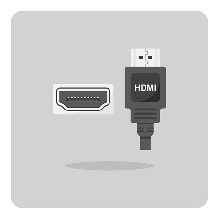 hdmi: Vector of flat icon, HDMI connector on isolated background Illustration