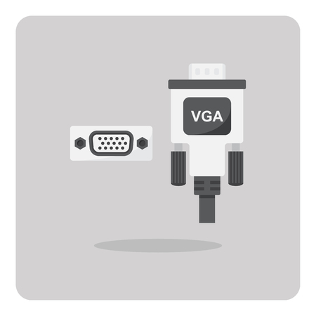 vga: Vector of flat icon, vga connector on isolated background