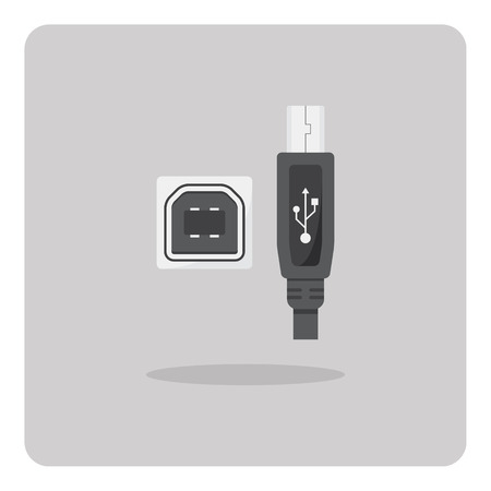 interconnect: Vector of flat icon, USB Type-B connector on isolated background