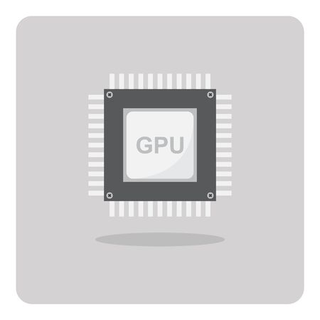 mainboard: Vector of flat icon, Graphics Processing Unit GPU chip on isolated background