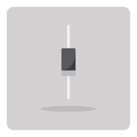 diode: Vector of flat icon, diode for circuits board on isolated background